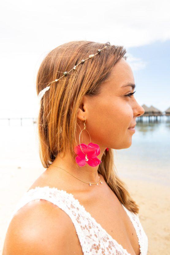 Couronne HEIPOE et boucles d'oreilles TIARE rose Manahei Creations