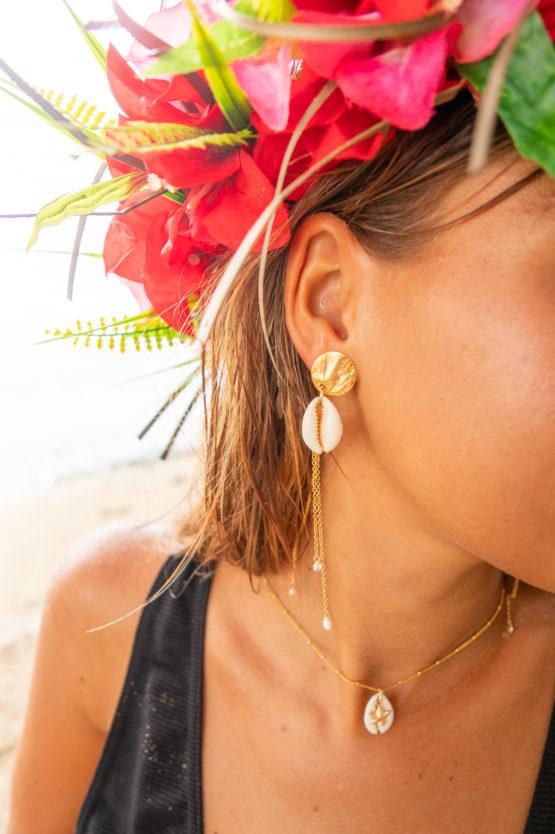 boucles d'oreilles cauri blanc tahiti